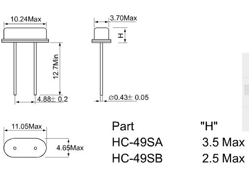 首先HC-49S HC-49U HC-49SMd都是石英晶振的封装类别,无源晶振系列,是现在石英晶振使用较广的几个产品,因其造价成本较低 精度稳定度等符合民用电子设备,所以受到工厂的喜欢。水晶材质(二氧化硅)的芯片材料的压电特性可以 能将电能与机械能相互转换,产生稳定的频率。 HC-49S (12mhz)属于直插式石英晶振封装,直插2脚,高壳体积为10.